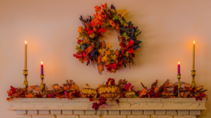 Fall photo featuring a fireplace
